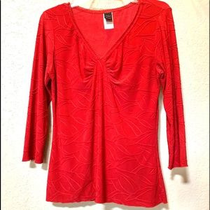 Gorgeous Red Top Flattering Design 3/4 Sleeves